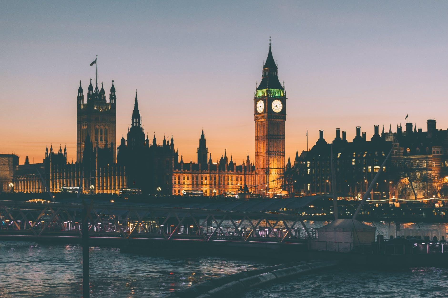london night lights bridge